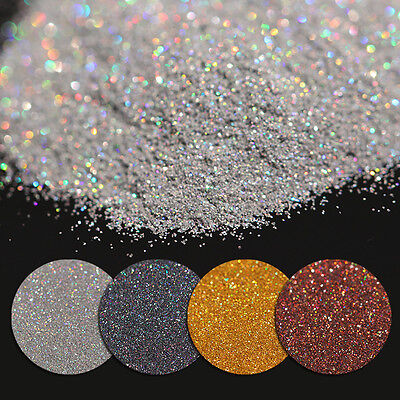 7g Holographic Laser Glitter Powder Dust Nail Shining Gold Silver Black Coffee