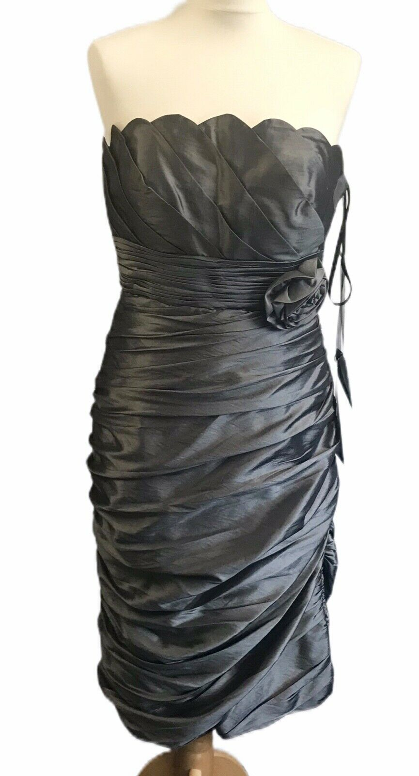 MASCARA Mother of The Bride Wedding Guest Dress Occasion Charcoal Silver UK14