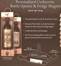 NIB PERSONALIZED WINE BOTTLE OPENER / CORKSCREW ~Wine O'clock~FRIDGE MAGNET