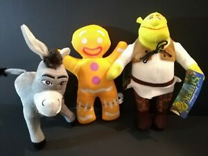 New-Shrek-Ogre-Donkey-Gingerbread-Man-Dreamworks-Lot-of-3-Plush-Stuffed-Toys