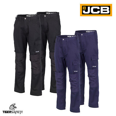 JCB Work Wear Essential Cargo Combat Trousers Pants Polycotton Knee Pad Pockets