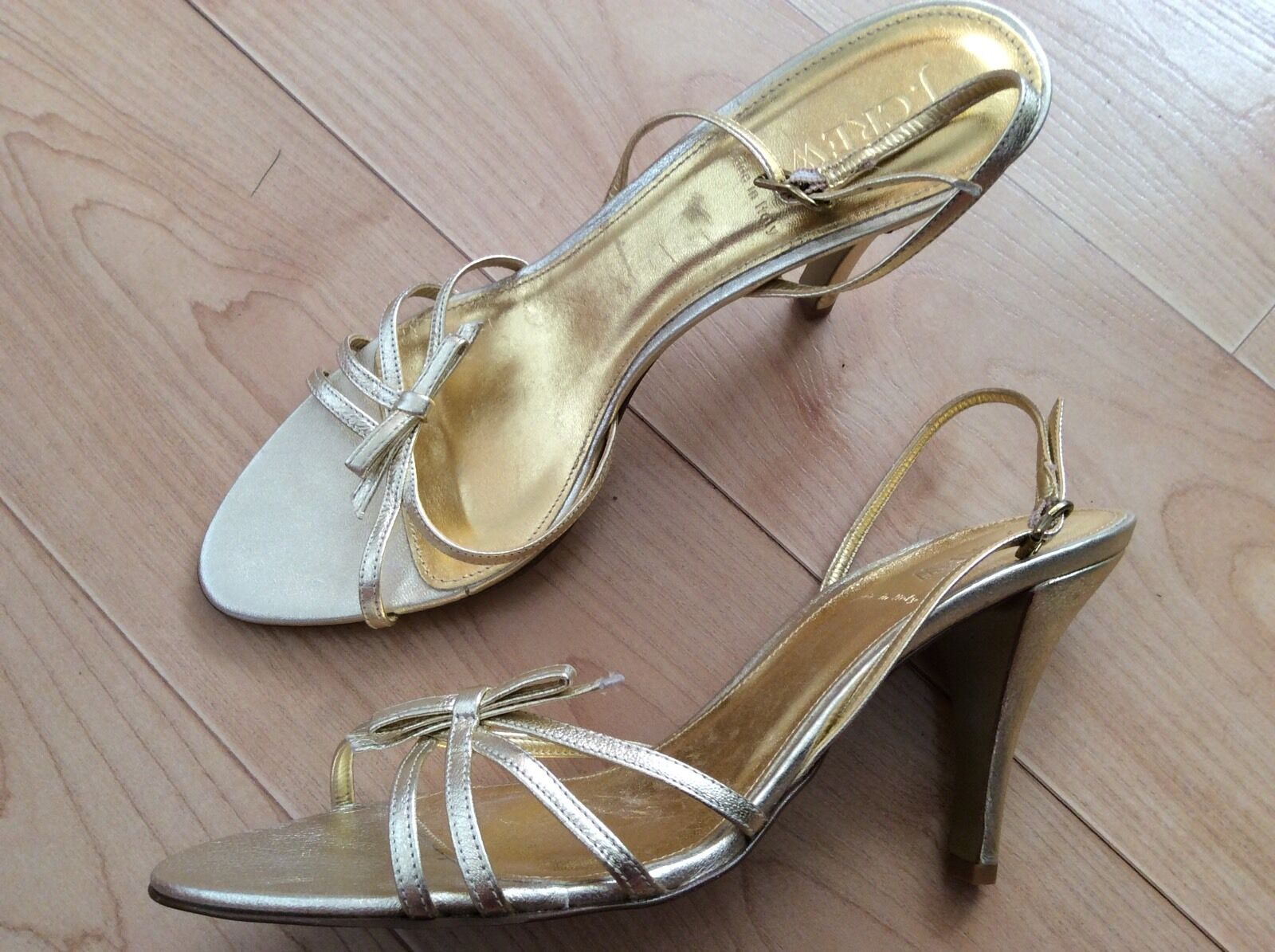 J J J CREW Size 9 Strappy High Heel Sandals Shoes Gold Genuine Pelle Italy NEW c9069e