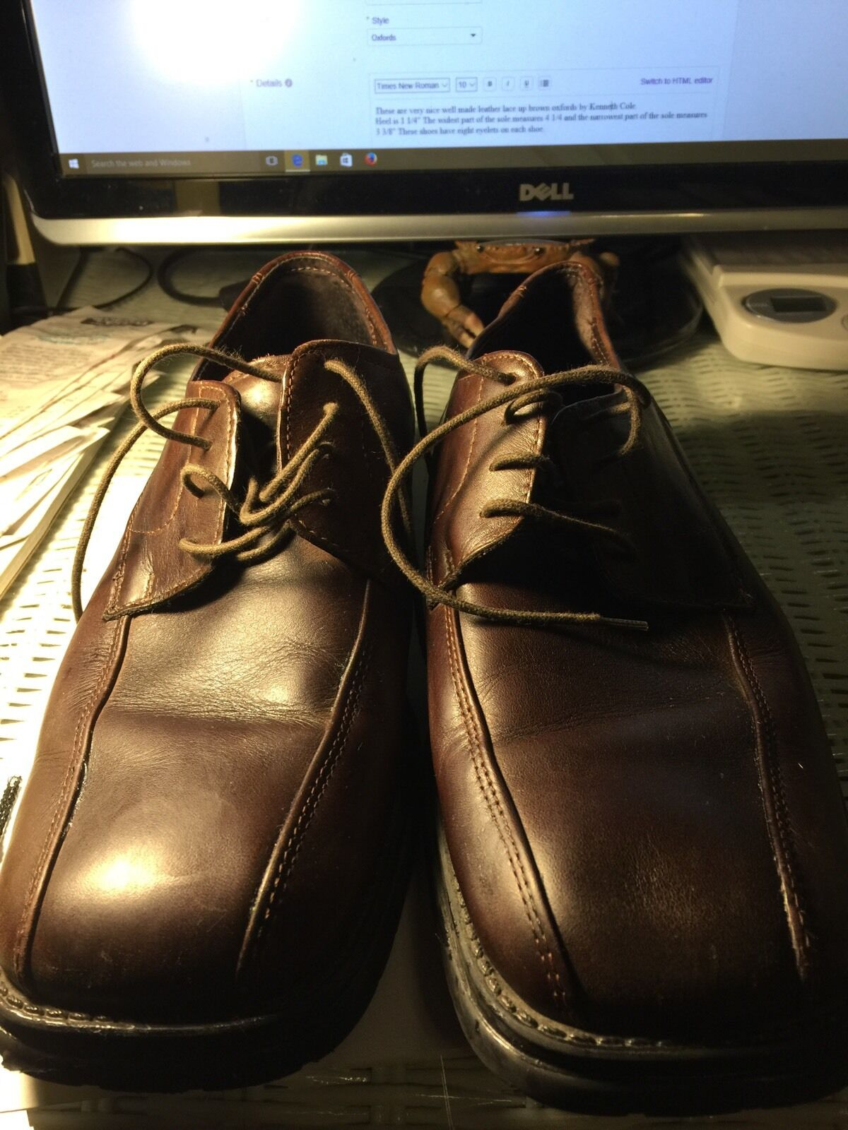 shoes, Men's, Brown leather lace up oxfords, by Reaction Kenneth Cole, SZ 8M