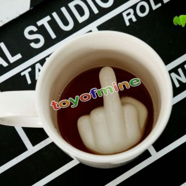 3D Middle Finger Coffee Cup Up Yours Mug Hidden Middle Finger Ceramic Mug Gift