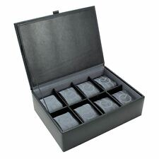 Dulwich Designs Leather Eclipse 8 Piece Watch Box Grey