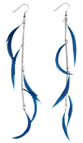 F1597F Bleu Plume Boucles d/'oreilles chaîne Dangle Eardrop Fashion Handmade Jewelry