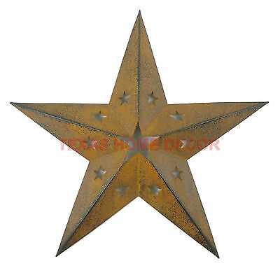 Western Primitive Punched Barn Star Tin Metal Wall Décor Rustic Texas 15 inch
