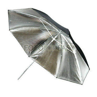 "33"" 83cm Studio Flash Reflective Black Silver Umbrella"
