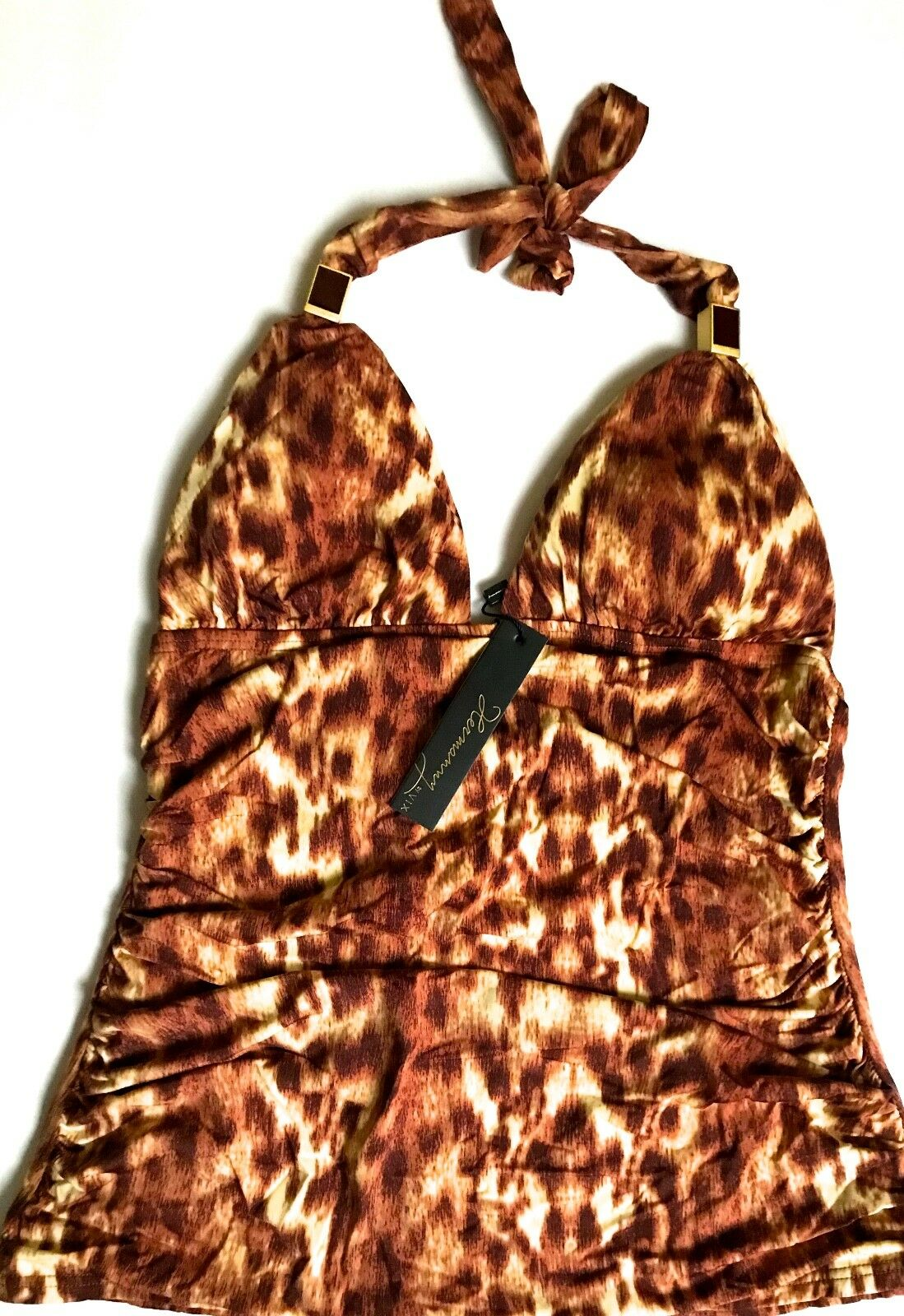 BRAND NWT  79.00 HERMANNY BY VIX SWIMSUIT ANIMAL PRINT TANKINI TOP SIZE 6
