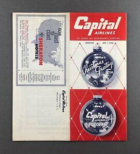 CAPITAL-AIRLINES-TIMETABLE-DECEMBER-1956-FLIGHT-SCHEDULE-VICKERS-VISCOUNT