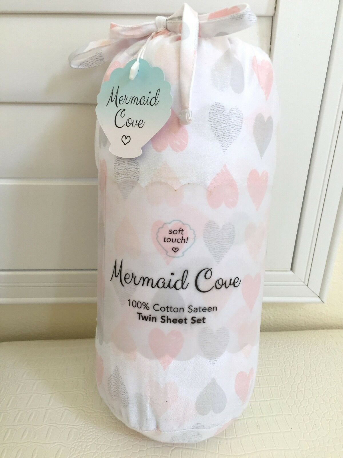 Mermaid Cove TWIN SHEET SET 3pc Luxury Bedding 100% Cotton Sateen Hearts NEW