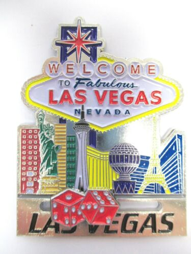 Las Vegas Magnet Metall Welcome Sign Würfel Nevada Souvenir USA