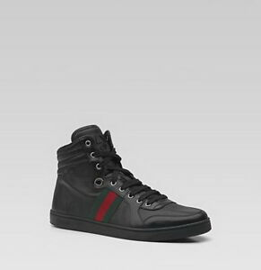 58c079d93 100% AUTHENTIC USED MEN GUCCI BLACK LEATHER HIGH TOP SNEAKER 8.5 G ...