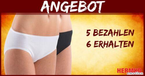 HERMKO 5031 6er Pack Damen Midi Slip a Baumwolle//Elastan 5 bezahlen 6 erhalten