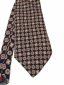 Tommy-Hilfiger-Black-Necktie-100-Silk-Red-and-Gold-Geometric-shapes-Tie-USA