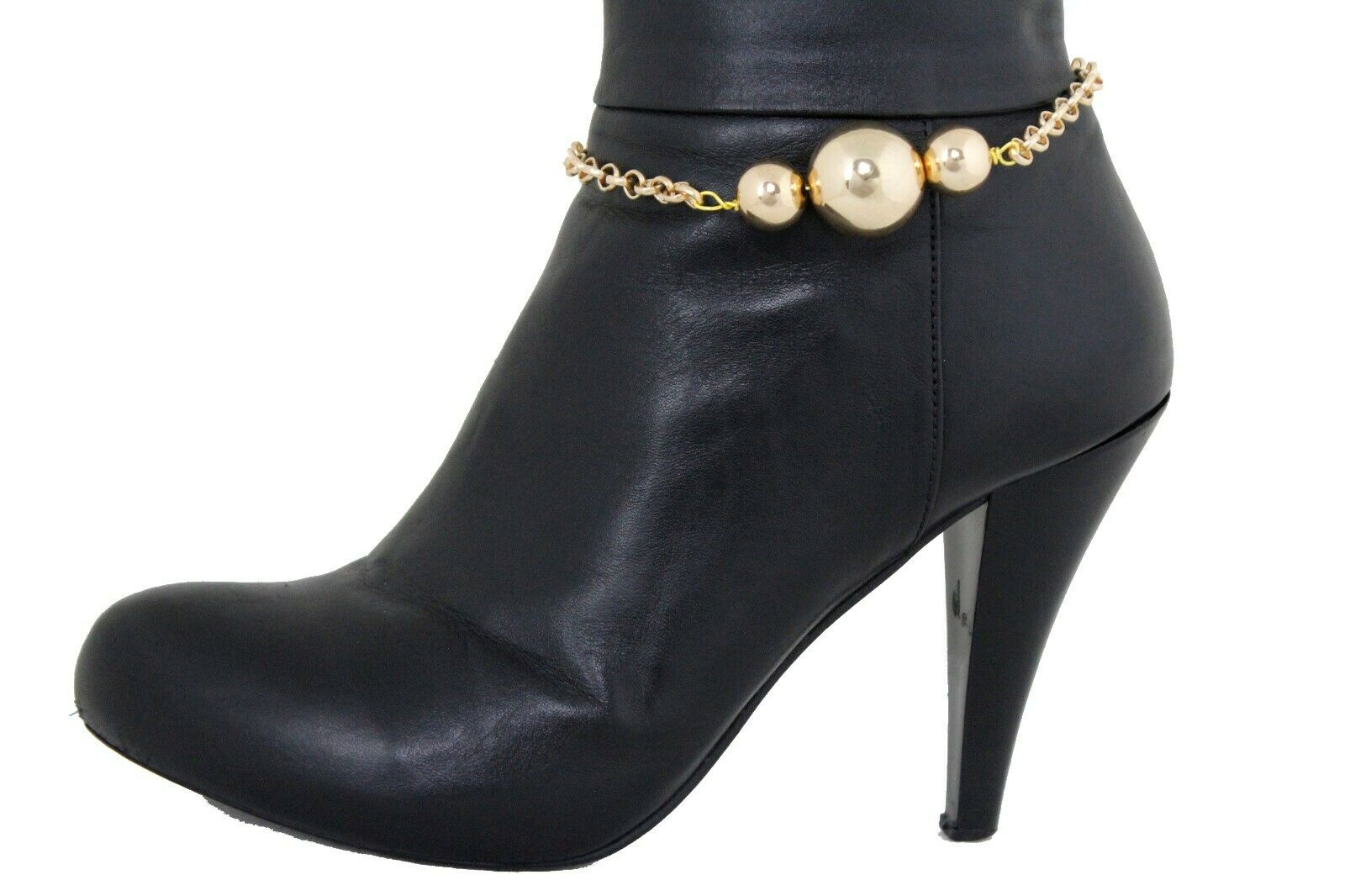 Women Gold Metal Boot Chain Anklet Bracelet Retro Shoe 3 Ball Charm Glam Jewelry