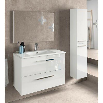 Juego mueble baño 2 cajones con espejo lavabo ceramico y columna auxiliar blanco