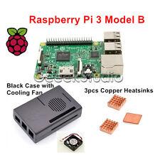 2016 Raspberry Pi 3 Model B Starter Kit With Black Case+Cooling Fan+Heatsinks