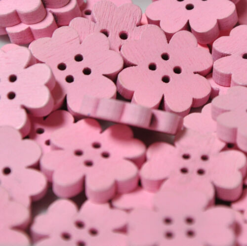 10 Wooden Flower Buttons Embellishments ideal for Cardmaking Scrapbooking