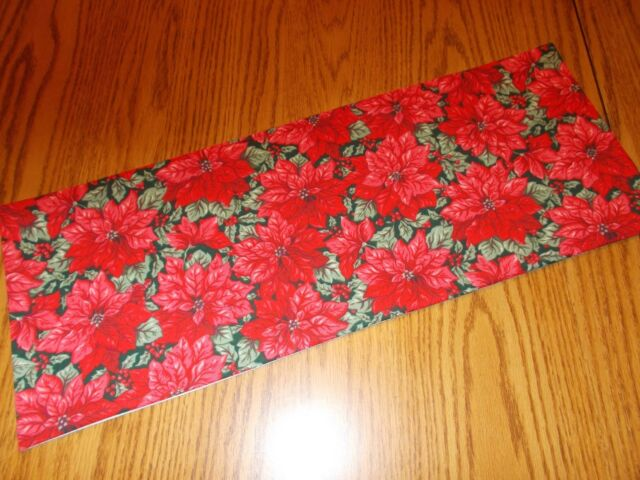 red Christmas poinsettia holly decor MINI table runner Toilet Tank Topper