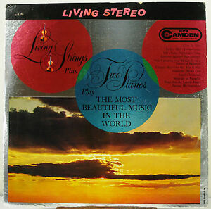 "12"" 33 RPM STEREO LP - RCA CAMDEN CAS-687  LIVING STRINGS PLUS TWO PIANOS (1962)"