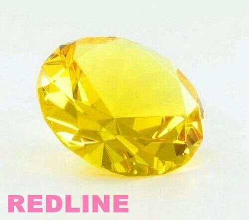 Yellow Decorative Round Crystal Diamond Shaped Paperweight- 4''