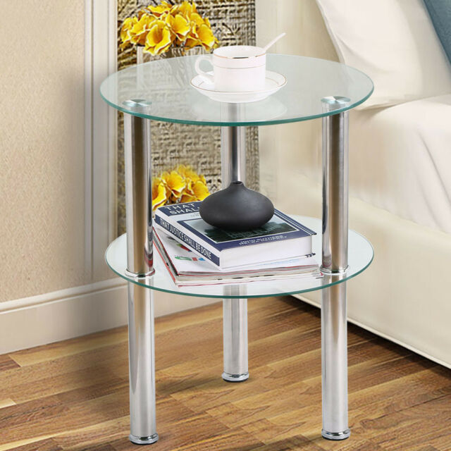 2 Tier Clear Small Round Glass Sofa Side End Coffee Table Chrome