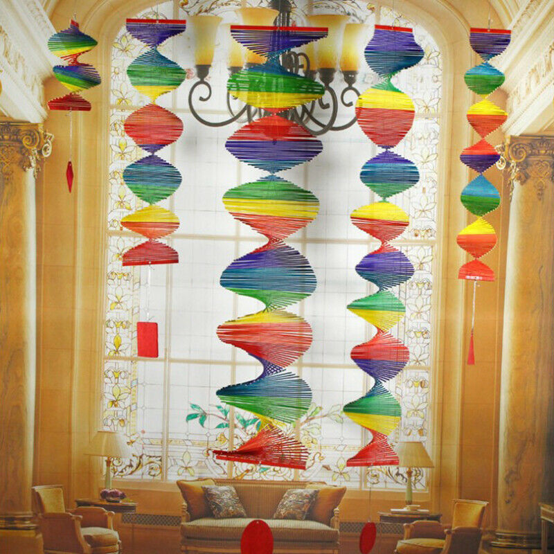 Bamboo Rainbow Wind Spinner Mobile Chime Garden Home Decor Pride Party_LOLDUK