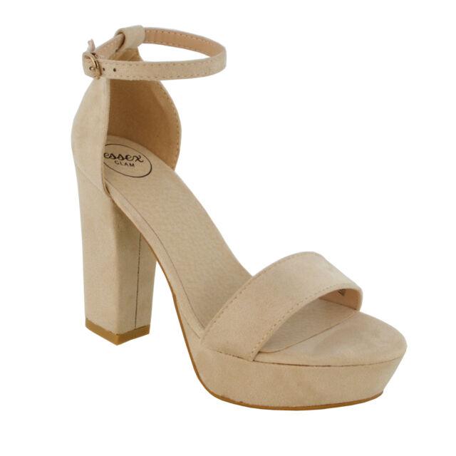 77d52f5cff5 Womens Platform Block Heel Sandals Ladies PEEP Toe Party Ankle Strap ...