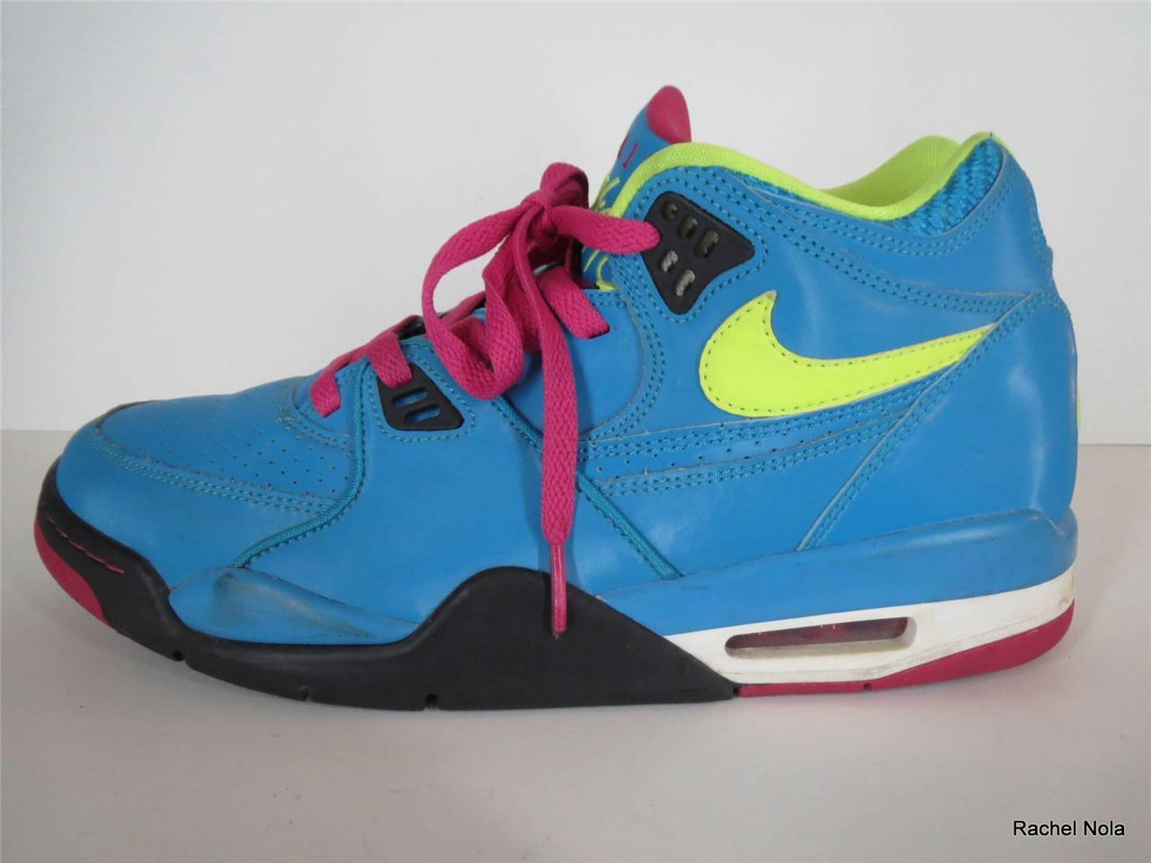 Nike Sneakers Mens Size 9.5 Air Flight Retro Retro Retro colorful Neon bluee Pink High Top 94b6af