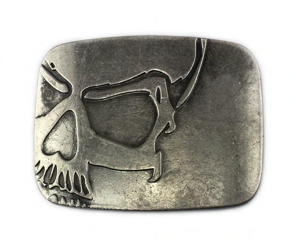 Gürtelschnalle Buckle für Gürtel bis 4 cm Metall Skull Biker Totenkopf vintage