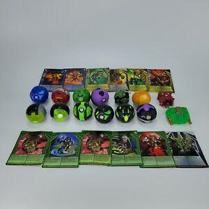 Lot of (14) Bakugan Brawler Toys W/(12) Trading Cards