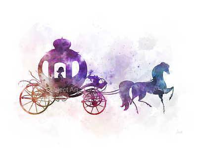 Princess ART PRINT Cinderella Horse And Carriage illustration Disney Pumpkin