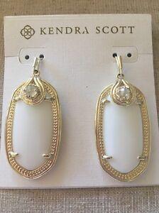 Image Is Loading Kendra Scott Porter Earrings White Amp Gold Iridescent