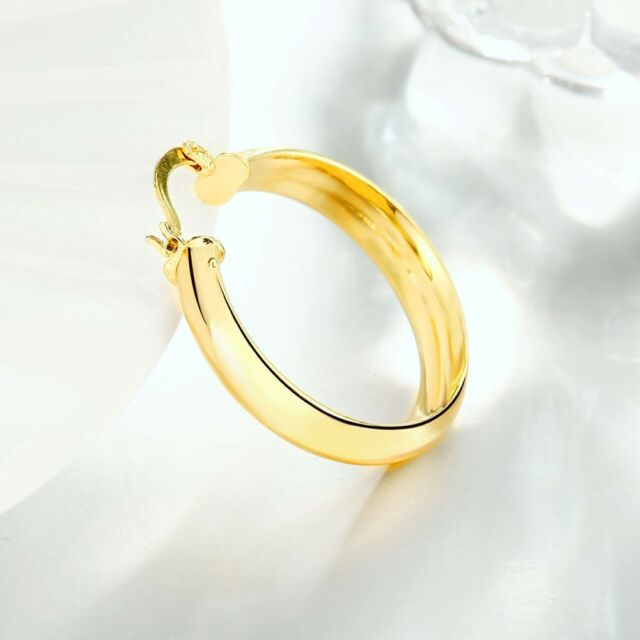 Mens Las 14k Yellow Gold 2mm Tubular Round Endless Hoop Earrings 12mm Plated