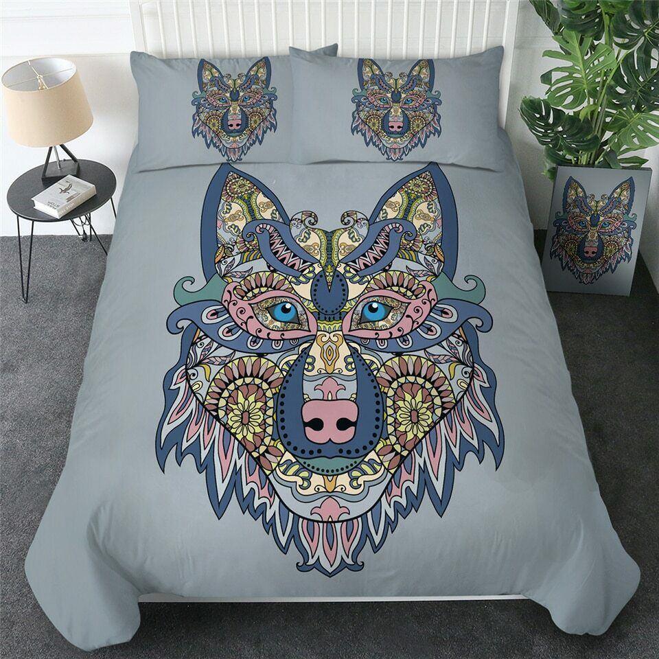 grau Mandala Wolf Wild Animal Double Single Quilt Duvet Pillow Cover Bed Set
