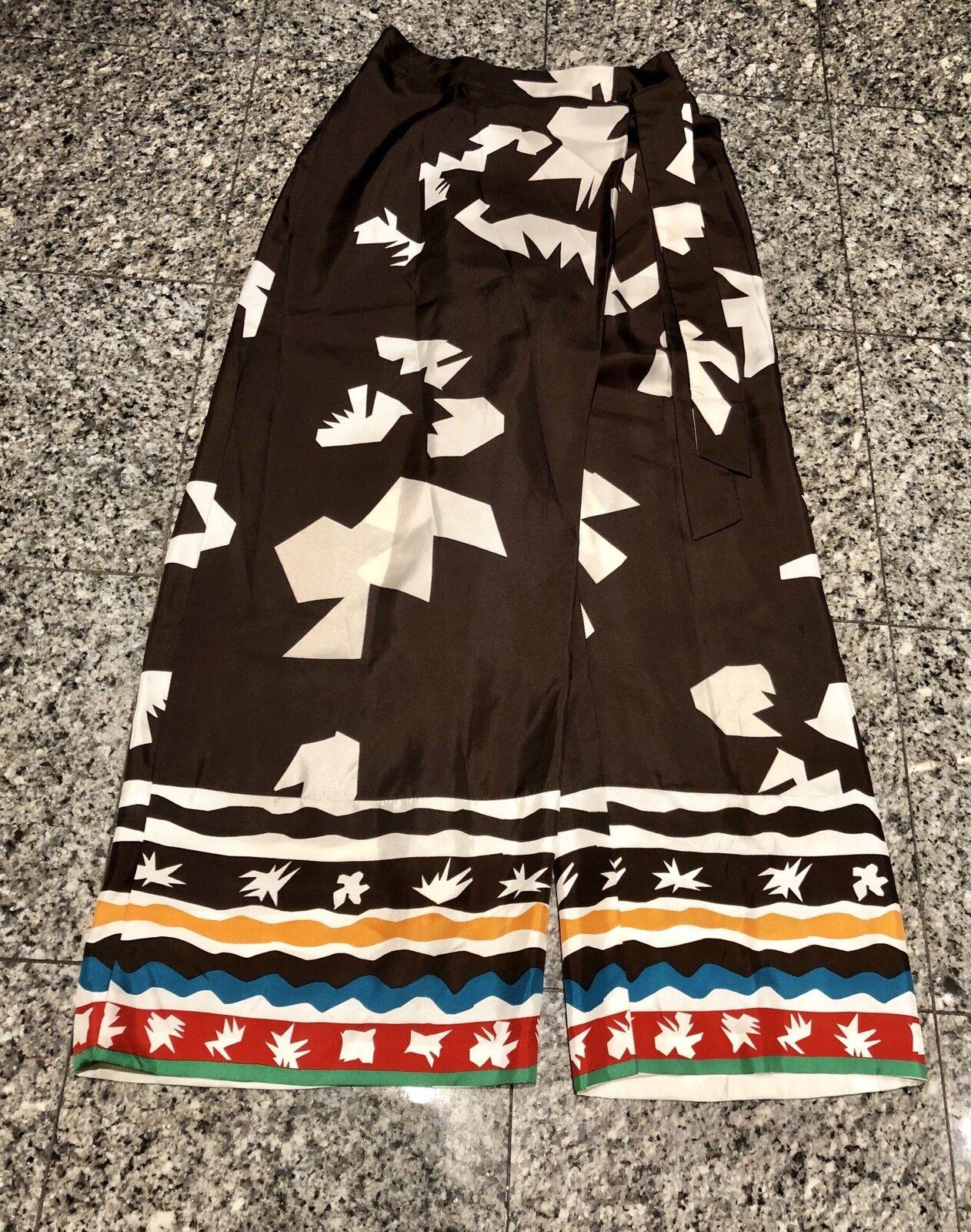 Oscar de la Renta braun Silk Aztec Print Wide Leg Pants