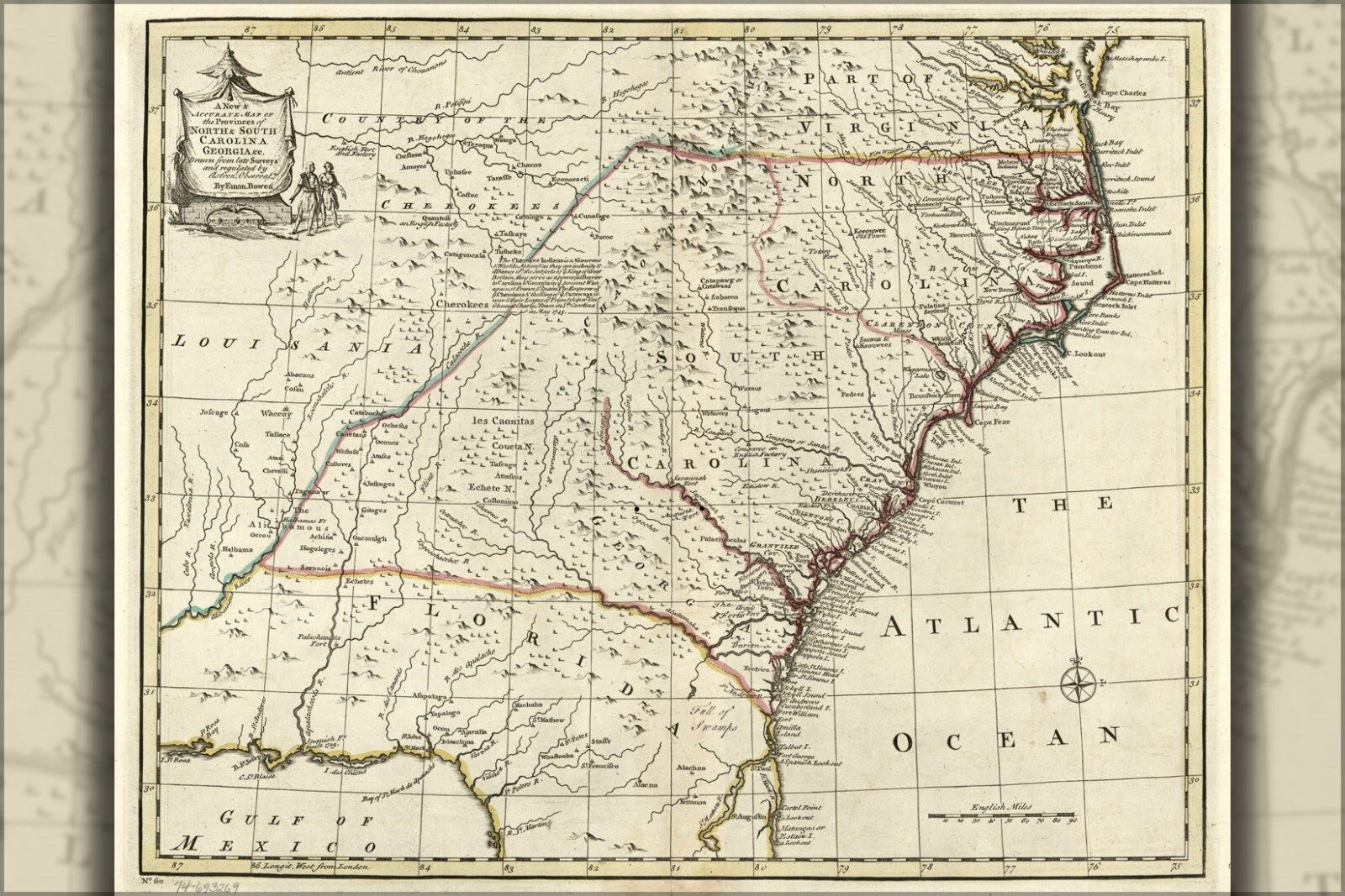 Poster, Many Größes; Map Of North & South Carolina, Georgia 1752