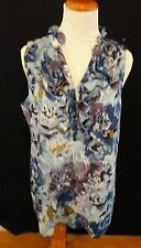 Anne Klein Women's Floral Sleeveless Ruffle 3/4 Button Front Blouse Blue Sz l