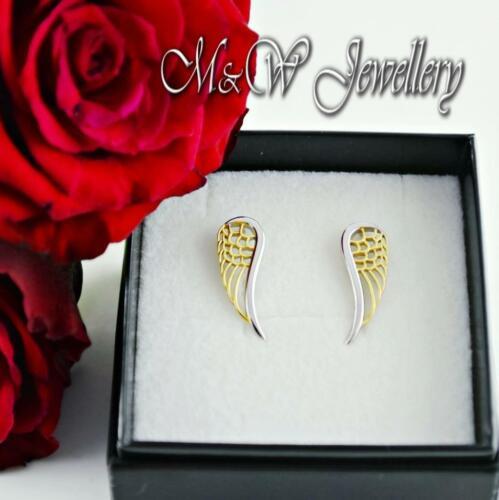 Rodio plateado plata esterlina 925 /& Brazalete Chapado en Oro Pendientes-Wings