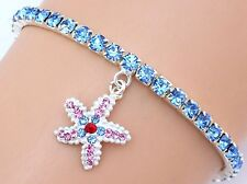 NEW Stretch Tennis Bracelet Made with Blue Swarovski Crystal Elements Starfish