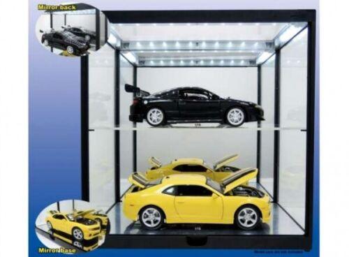 2-Fach Vitrine schwarz mit Beleuchtung und Spiegel für 2 x 1//18 Modellautos .