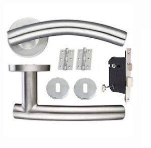 Arched Door Handle Pack 3 lever Lock Set Satin Stainless Steel