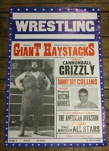 Vintage-Original-Wrestling-Promotional-Poster-1980-s-Giant-Haystacks-60-cm-x-40