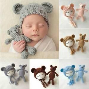 Newborn Baby Girl Boy Crochet Knit Costume Bear Hat Set Photo Photography Props