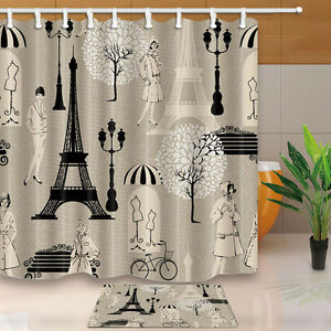 Image Is Loading Retro Eiffel Tower Bathroom Waterproof Fabric Shower Curtain