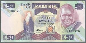 7 1986-1988 Sign Unc To Enjoy High Reputation At Home And Abroad 50 Kwacha Banknote Sambia / Zambia
