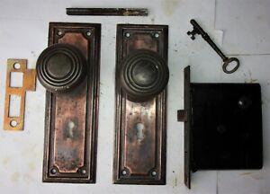 Antique-VICTORIAN-Tiger-Copper-Mission-Backplates-Door-Knobs-Mortise-Lock-Key