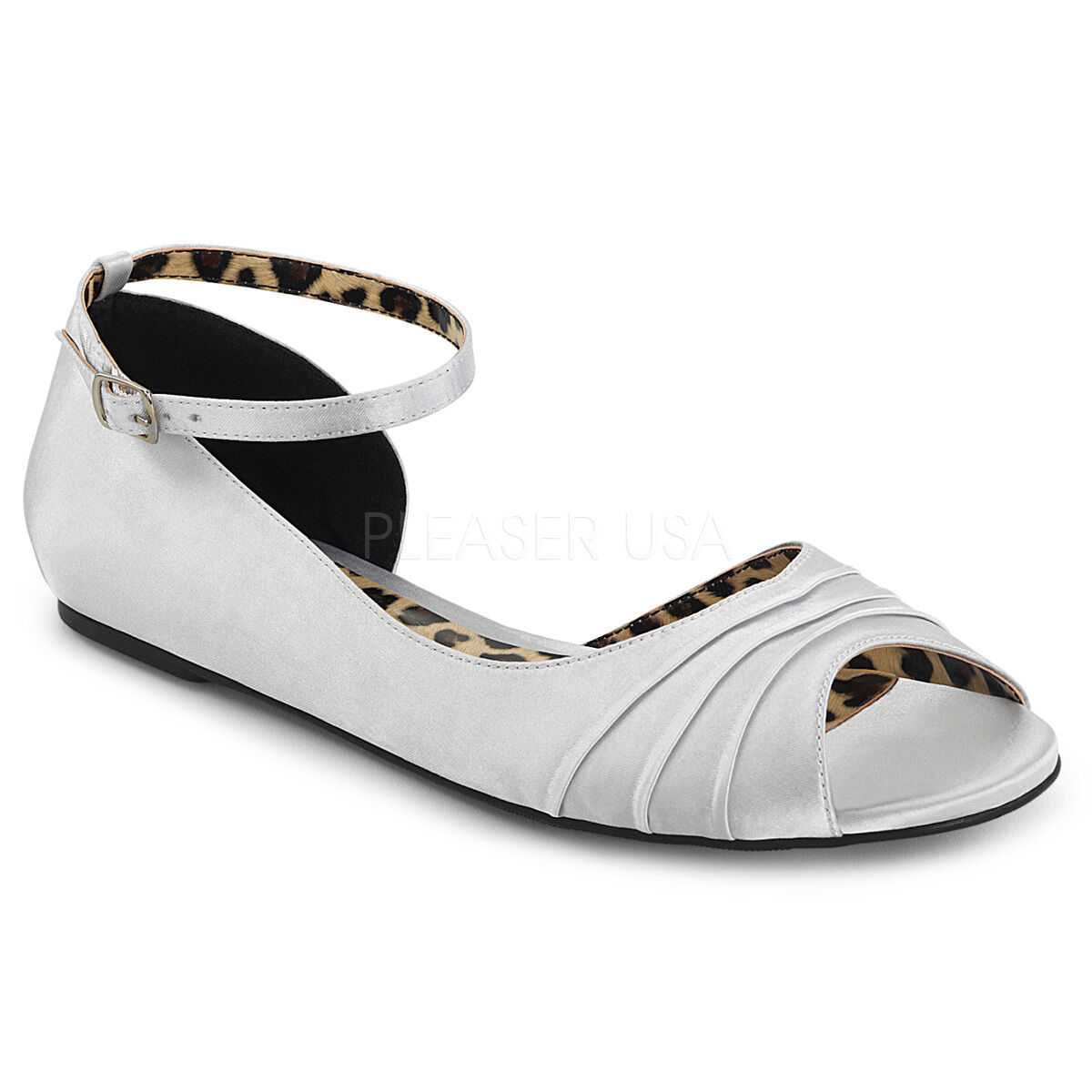PLEASER Silver Satin Flats Women's shoes with Ankle Strap Large SIZES ANNA03 SSA