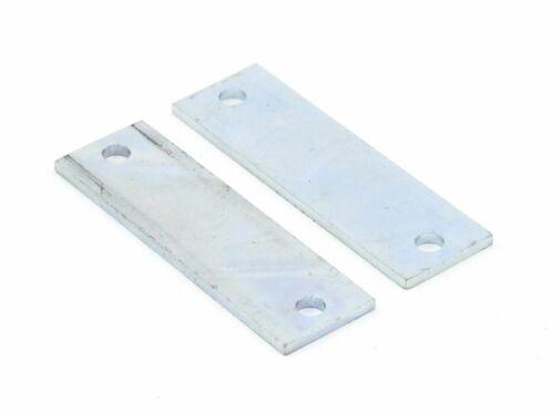 2x Eisenblech Platte Rechteck Metall Verbindungs-Plättchen 60x18x2 Loch-Ø 4 mm